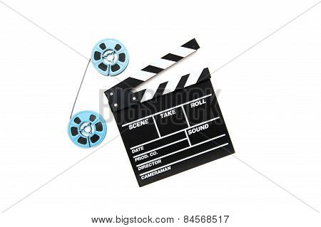 Vintage 8Mm Blue Movie Reels And Clapper Board White Background