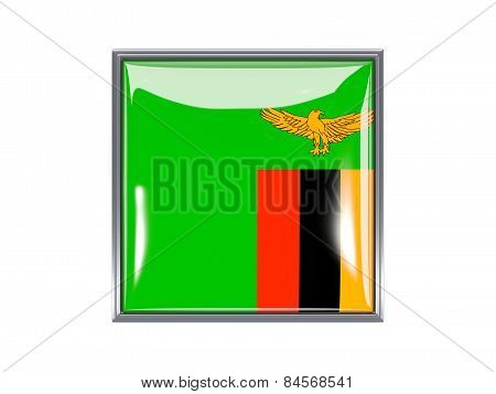 Square Icon With Flag Of Zambia
