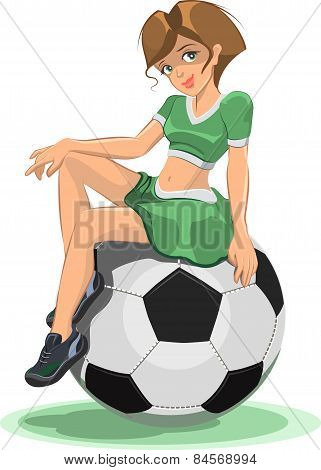 Cheerleader girl sitting on the soccer ball