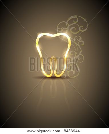 Beautiful Golden Tooth Illustration