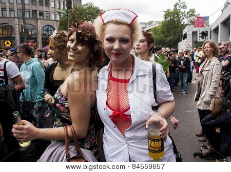 Elaborately Dressed Girls, During Gay Pride Parade