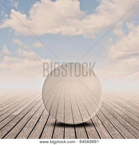 pier with glass sphere on sunset