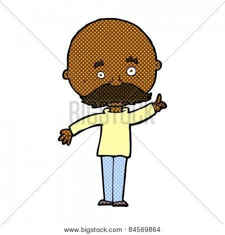 retro comic book style cartoon bald man with idea