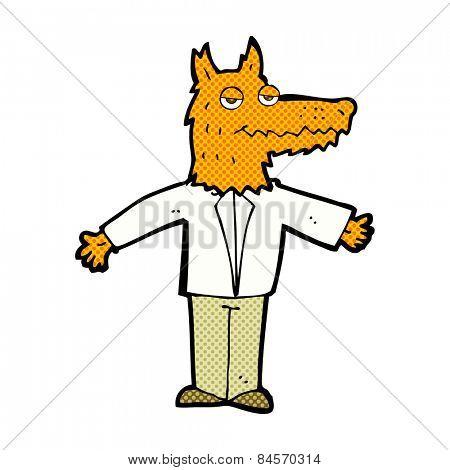 retro comic book style cartoon fox