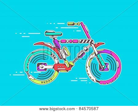 Vector Illustration Of Bicycle Moving Fast On Bright Blue Background Leaving Trace.