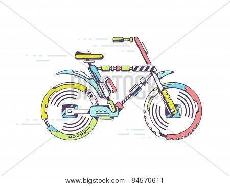 Vector Illustration Of Bicycle Moving Fast On Light Background Leaving Trace.