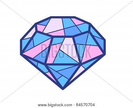Vector Illustration Of Blue And Pink Diamond On White Background.