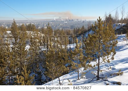 View from Mount High to Nizhny Tagil. Sverdlovsk region. Russia.