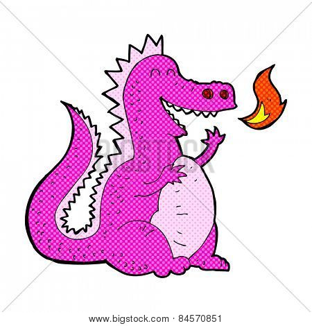 retro comic book style cartoon fire breathing dragon