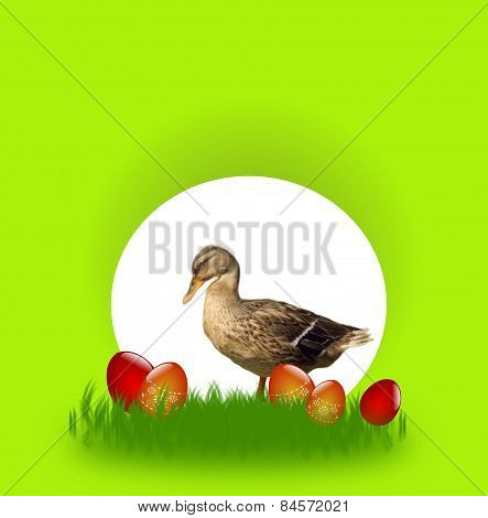 Easter Card With Duck