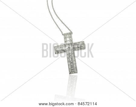 Diamonds cross necklace on white background