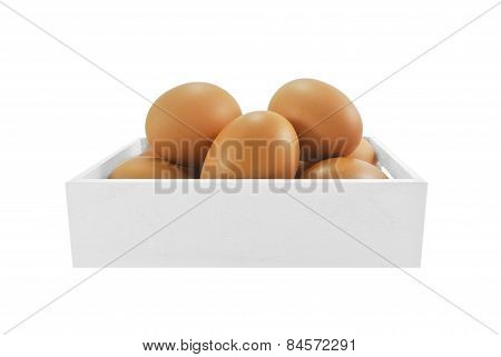 egg in white wood box