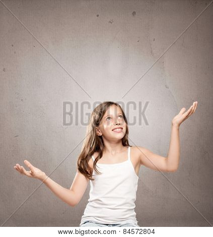 little girl juggling with copy space