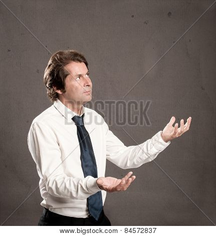 businessman juggling with copy space