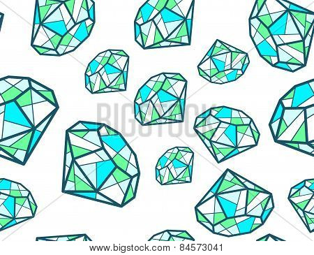 Vector Illustration Of Pattern Of Green Emeralds Of Different Sizes On White Background.