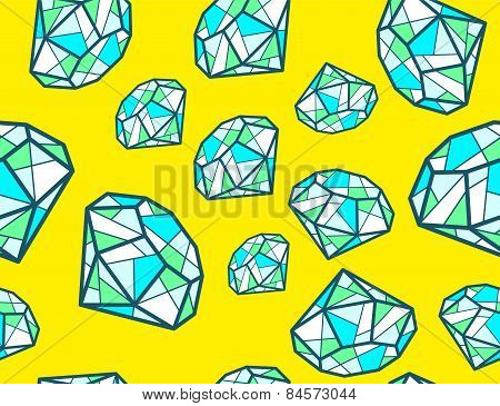 Vector Illustration Of Pattern Of Green Emeralds Of Different Sizes On Yellow Background.