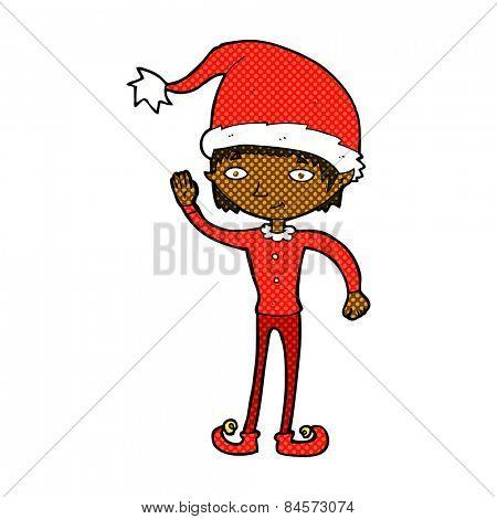 retro comic book style cartoon waving christmas elf