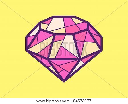 Vector Illustration Of Red Ruby On Yellow Background.