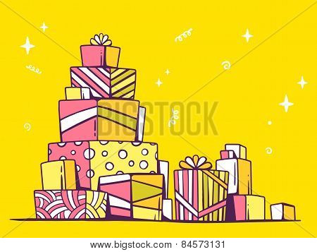 Vector Illustration Of Large Pile Of Pink And Yellow Gifts Standing On Each Other On Bright Backgrou