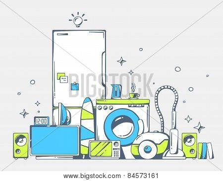 Vector Illustration Of Large Pile Of Blue And Green Household Appliances Standing  On Each Other On