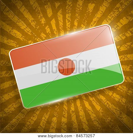 Flag Of Niger With Old Texture. Vector