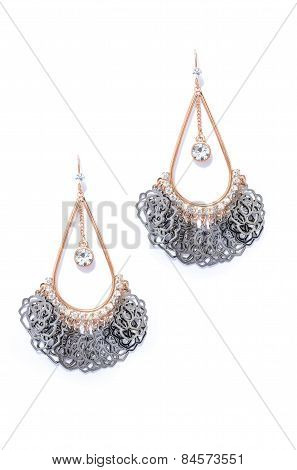 Earrings On A White Background