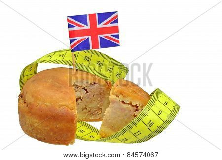 British pork pie with flag and measuring tape
