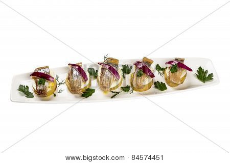 Restourant Serving Dish - Pieces Herring For Snack On White Background