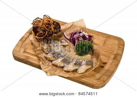 Restaurant Serving Dish - Pieces Herring For Snack On White Background