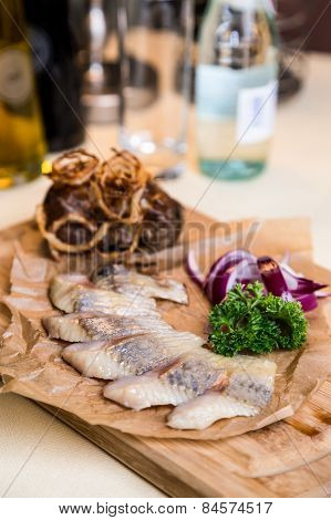 Restourant Serving Dish - Pieces Herring For Snack