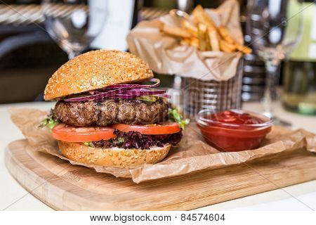 Restourant Serving Dish - Burger With Cutlet With Frying Potato On Wooden Board