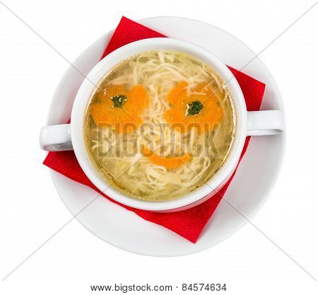 Restourant Serving Dish For Child`s Menu - Noodles Soup With Face