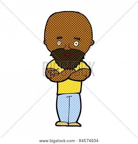 retro comic book style cartoon shocked bald man with beard