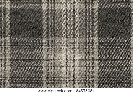 Beige Woolen Fabric With An Checkered Pattern