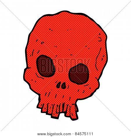 retro comic book style cartoon spooky skull