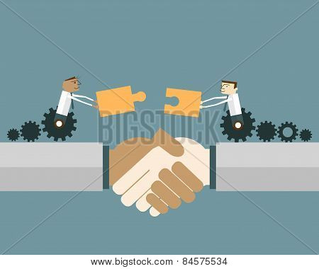 Businessmen On Gear Wheel With Puzzle Pieces