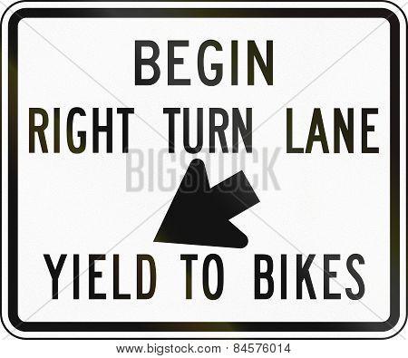 Begin Right Turn Lane - Yield To Bikes