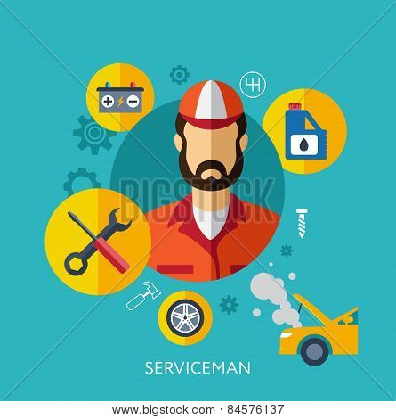 Set Flat Icons with Man of Different Professions. Builder, nurse, doctor, manager, hostess, waiter,