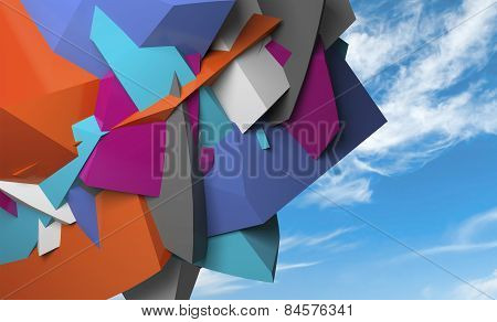 Abstract Colorful  Chaotic Polygonal Fragments On Blue Sky