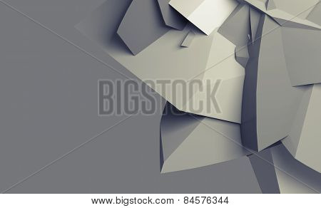 Abstract Monochrome Digital Chaotic Polygonal Surface