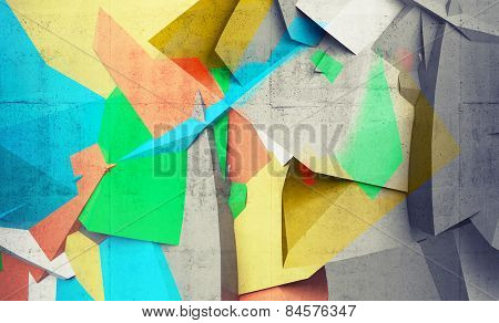 Abstract Colorful Chaotic Polygonal Fragments On Concrete