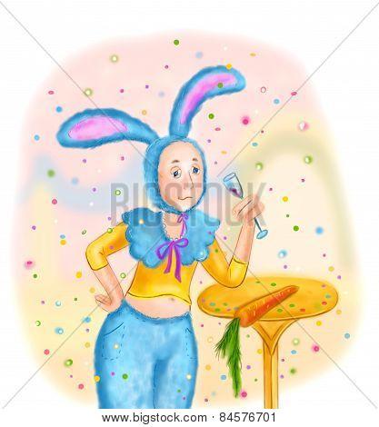 man in masquerade costume of hare