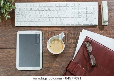 Keyboard, Smarphone And Coffee Cup
