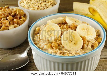 Banana walnut overnight oatmeal close up