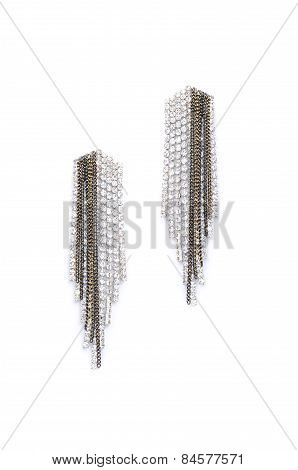 Earrings With Diamonds On A White Background