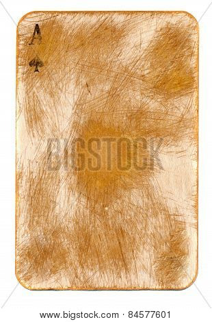 Antigue Playing Ace Card Paper Background  Isolated On White