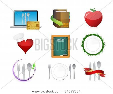 Food Restaurant Menu Concept Icon Set Illustration