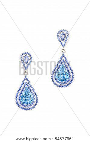 Earrings Drops On A White Background