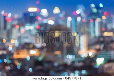 Blurred unfocused city view at night, Bangkok Thailand