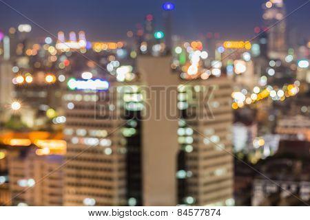 Abstract blur bokeh of Bangkok sky roof top